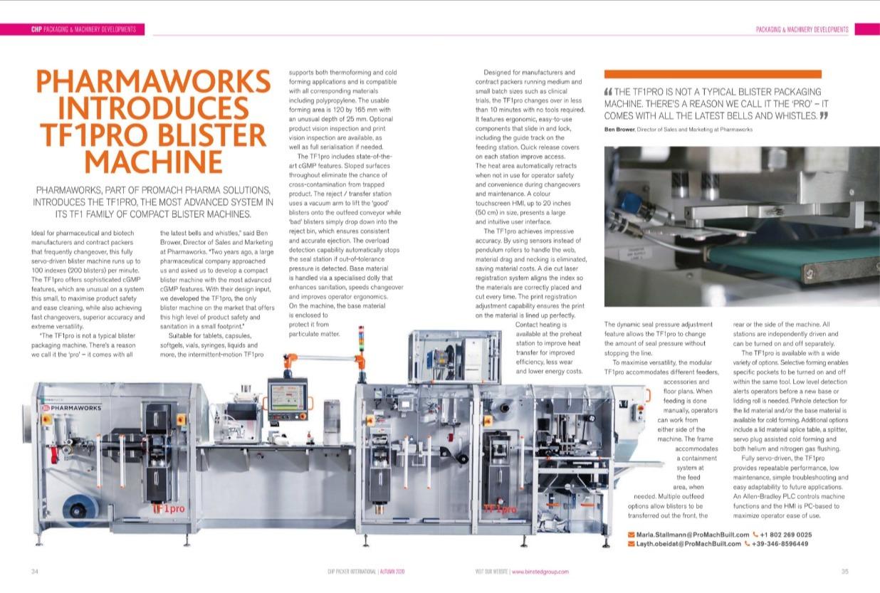 Pharmaworks introduces TF1pro blister machine